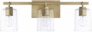 Home Place 128531AD-449 Greyson Contemporary Aged Brass 3-Light Bathroom Wall Sconce