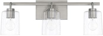 Home Place 128531BN-449 Greyson Modern Brushed Nickel 3-Light Bath Wall Sconce