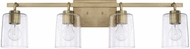 Home Place 128541AD-449 Greyson Contemporary Aged Brass 4-Light Bathroom Sconce Lighting