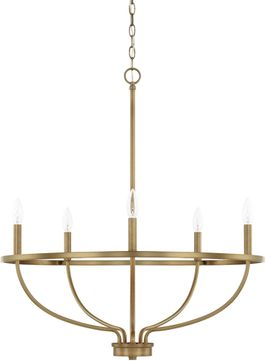 Home Place 428551AD Greyson Contemporary Aged Brass Chandelier Lamp