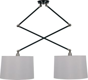 House of Troy UP502-BLK/SN Uptown Black and Satin Nickel Island Lighting