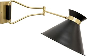 House of Troy WS730-ABBLK Wall Swing Arm Antique Brass with Black Accents Wall Swing Arm Lamp