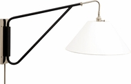 House of Troy WS731-PNBLK Wall Swing Arm Polished Nickel with Black Accents Swing Arm Wall Lamp