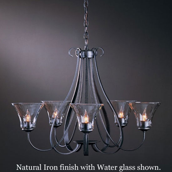Hubbardton Forge Glass Shades: Hubbardton Forge 10-1454 Sweeping Taper 5-Light Water