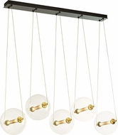 Hubbardton Forge 134409-31-YT517 Otto Sphere Brass w/ Black Multi Pendant Lamp
