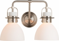 Hubbardton Forge 202169-SKT-22-GG0612 Castleton Brushed Nickel 2-Light Bathroom Vanity Light Fixture