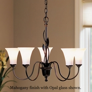 Hubbardton Forge 421035 Forged Leaves 5-Light Glass Chandelier