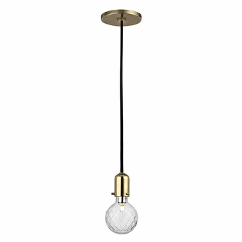 Hudson Valley 1100-AGB Marlow Modern Aged Brass Xenon Mini Pendant Light Fixture