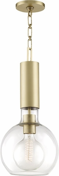 Hudson Valley 1409-AGB Raleigh Modern Aged Brass Mini Pendant Light Fixture