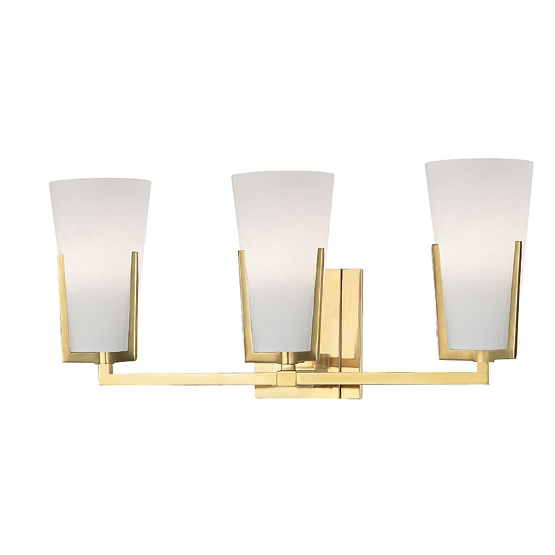 Hudson Valley AGB Upton Aged Brass Xenon Light Bathroom - Brass bathroom sconce