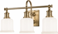 Hudson Valley 1973-AGB Keswick Aged Brass 3-Light Bath Lighting