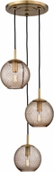 Hudson Valley 2033-AGB-BZ Rousseau Contemporary Aged Brass Multi Pendant Light