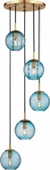 Hudson Valley 2035-AGB-BL Rousseau Modern Aged Brass Multi Pendant Hanging Light