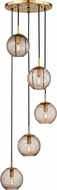 Hudson Valley 2035-AGB-BZ Rousseau Contemporary Aged Brass Multi Hanging Light Fixture