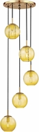 Hudson Valley 2035-AGB-LA Rousseau Contemporary Aged Brass Multi Drop Ceiling Lighting