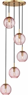 Hudson Valley 2035-AGB-PK Rousseau Modern Aged Brass Multi Ceiling Light Pendant