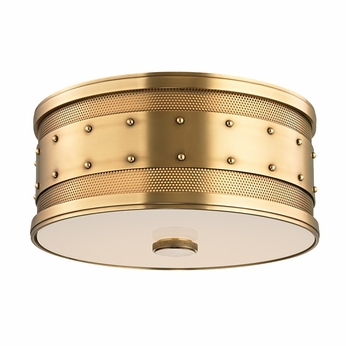 Hudson Valley 2202-AGB Gaines Vintage Aged Brass Finish 12  Wide Ceiling Light Fixture