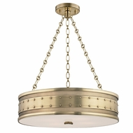 Hudson Valley 2222-AGB Gaines Vintage Aged Brass Finish 22  Wide Drum Pendant Hanging Light
