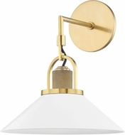 Hudson Valley 2601-AGB/WH Syosset Modern Aged Brass / White Wall Light Sconce
