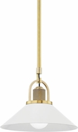 Hudson Valley 2613-AGB/WH Syosset Modern Aged Brass / White 12 Hanging Light