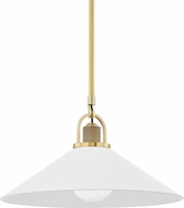 Hudson Valley 2620-AGB/WH Syosset Modern Aged Brass / White 20 Hanging Pendant Light