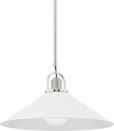 Hudson Valley 2620-PN/WH Syosset Contemporary Polished Nickel / White 20 Hanging Light Fixture