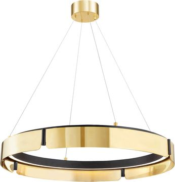 Hudson Valley 2933-AGB/BK Tribeca Modern Aged Brass / Black LED 33  Ceiling Light Pendant