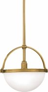 Hudson Valley 3312-AGB Stratford Retro Aged Brass Drop Ceiling Light Fixture