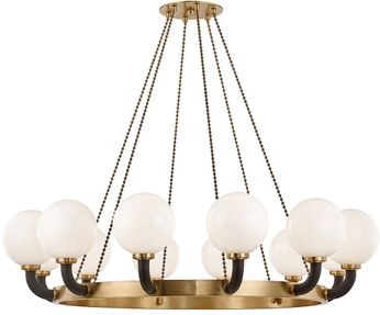 Hudson Valley 3660-AGB-BK Werner Modern Aged Brass / Black Chandelier Light