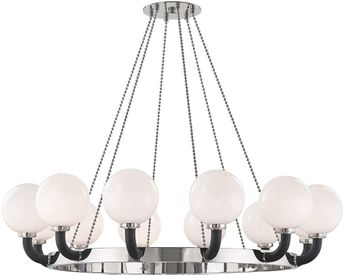 Hudson Valley 3660-PN-BK Werner Contemporary Polished Nickel / Black Ceiling Chandelier