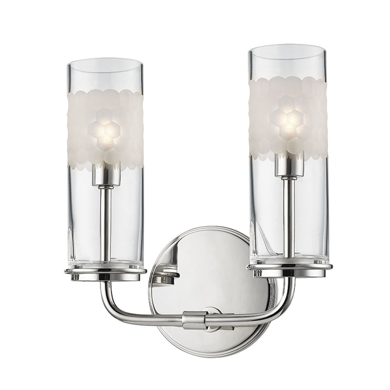 Hudson Valley PN Wentworth Polished Nickel Xenon Light Bath - Polished nickel bathroom wall sconces