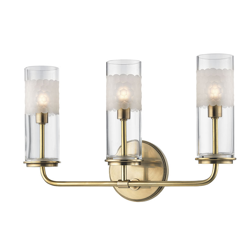 Hudson Valley 3903 AGB Wentworth Aged Brass Xenon 3 Light Bathroom Light  Sconce. Loading Zoom