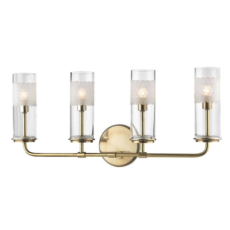 Hudson Valley AGB Wentworth Aged Brass Xenon Light Bathroom - Brass bathroom sconce