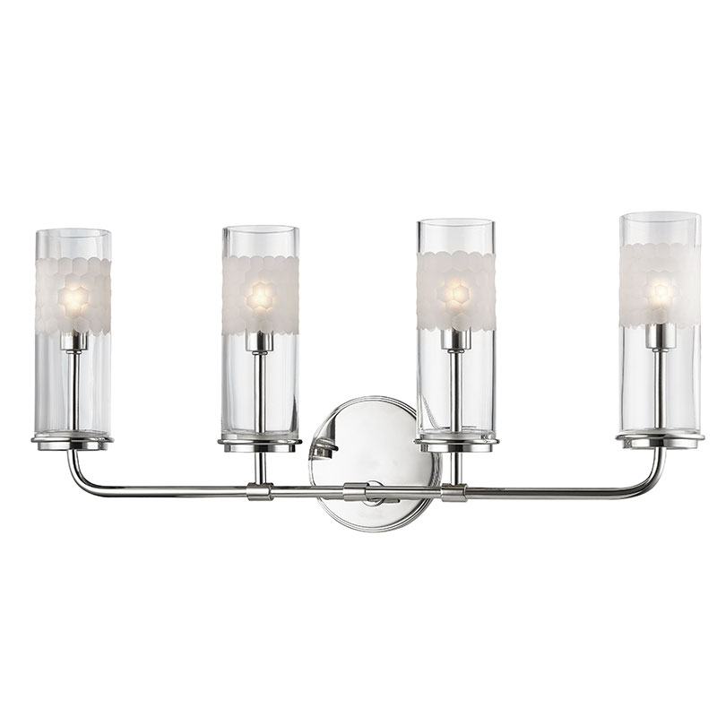 Hudson Valley 3904 Pn Wentworth Polished Nickel Xenon 4 Light Bath Lighting Sconce Loading Zoom