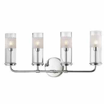 Hudson Valley 3904 Pn Wentworth Polished Nickel Xenon 4 Light Bath Lighting Sconce