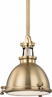 Hudson Valley 4610-AGB Massena Retro Aged Brass Mini Hanging Pendant Light