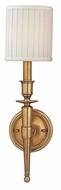 Hudson Valley 4901 Abington Wall Sconce with White Pleated Shade