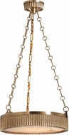 Hudson Valley 516-AGB Lynden Retro Aged Brass Drum Pendant Hanging Light