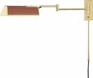 Hudson Valley 5331-AGB Holtsville Aged Brass w/ Saddle Leather Wall Swing Arm Lamp