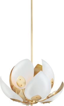 Hudson Valley 5708-GL-WH Lotus Modern Gold Leaf / White Lighting Chandelier