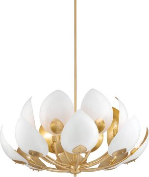 Hudson Valley 5739-GL-WH Lotus Modern Gold Leaf / White Chandelier Light