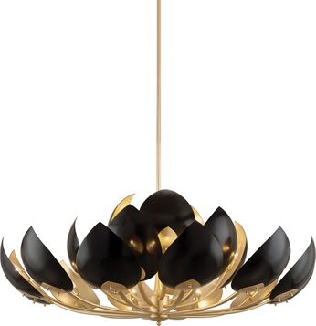 Hudson Valley 5754-GL-BK Lotus Contemporary Gold Leaf / Black Ceiling Chandelier