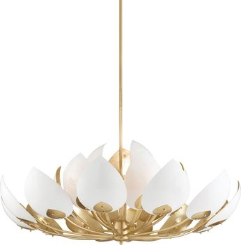 Hudson Valley 5754-GL-WH Lotus Contemporary Gold Leaf / White Hanging Chandelier