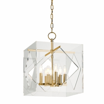 Hudson Valley 5916-AGB Travis Contemporary Aged Brass Finish 21.5  Tall Pendant Light Fixture