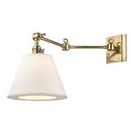 Hudson Valley 6233-AGB Hillsdale Vintage Aged Brass Finish 10  Wide Wall Swing Arm Lamp