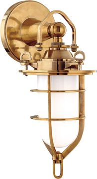 Hudson Valley 6501-AGB New Canaan Nautical Aged Brass Indoor / Outdoor Wall Lighting Sconce
