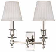 Hudson Valley 6802 Newport Dual Vanity Light with White Pleated Shades