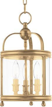 Hudson Valley 7809-AGB Larchmont Aged Brass 8.5 Foyer Lighting Fixture