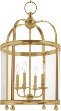 Hudson Valley 7816-AGB Larchmont Aged Brass 16.5 Foyer Lighting Fixture