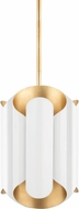 Hudson Valley 8513-GL-WH Banks Contemporary Gold Leaf and White Mini Hanging Light Fixture